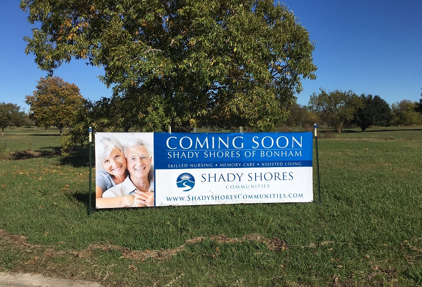 Coming soon sign for Shady Shores of Bonham, TX